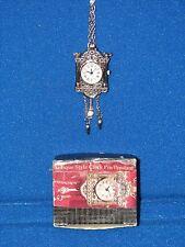 Signed AVON Vintage PENDULUM CLOCK BROOCH PIN/PENDANT Rhinestone Silver Tone