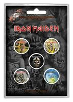 Iron Maiden Faces of Eddie 5 Button Set Badge Pack Metal Badges Official New