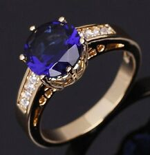 Wedding Size 7 Rare Blue Sapphire 10KT Gold Filled Anniversary For Womens Ring