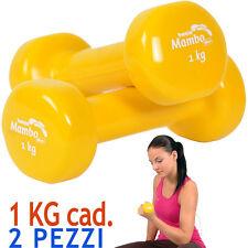 Msd 2 MANUBRI da 1 Kg VINILE LAVABILE GIALLO peso tot.2 kg Pesi Sport Braccia