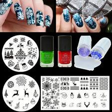 7Pcs BORN PRETTY Christmas Nail Art Stamping Plates Polish Stamper W/Scraper DIY