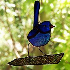 Delicate Life Size BLUE FAIRY WREN Stained Glass Suncatcher Bird Watcher & Lover