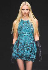 ROBERTO CAVALLI Purple Silk Green Beaded Sequin Open Back Dress 42 4 6