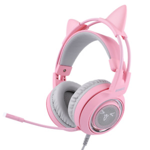 G951 Pink Head-mounted 7.1-channel Esports Game PUBG Headphones Pink Cat Ear