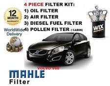 für Volvo V60 2.4D D5 10/2010> auf SERVICE SET Öl Luft Kraftstoff Pollenfilter
