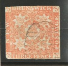 1851 New Brunswick Three Pence Stamp, Red, Scott #1