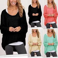 Damen Pullover Bluse Sweater Sweatshirt Strickshirt Langarm Shirt Tee Sommer Neu