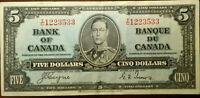 1937 Bank of Canada $5 Dollar Bill Banknote