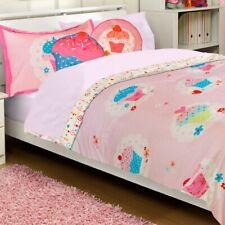 CUPCAKES BED COMFORTER PILLOW SHAM SET - Pink Polka Dots Hearts Flowers Bedding