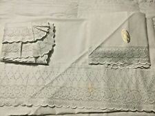 Aurora Ricami King Size ITALIAN COTTON Eyelet Sateen Flat Sheet Two Shams Italy
