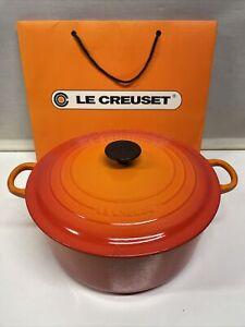 Huge Volcanic Orange Le Creuset Round Casserole Dish Pot No28 71/4 Qt 28.5cm D