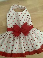 Handmade VALENTINE'S red polka dots dog dress .