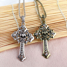 vintage mens Gold Plated clear Crystal Skull head cross Pendant+long necklace