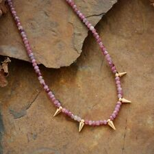 Genuine Red Tourmaline Stone & Gold Spike Choker Necklace Beaded