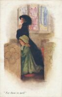 Mary Horsfall Signed Young Woman and Girl In Church For Those In Peril - 1918