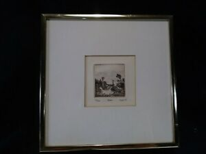 """Vintage Miniature 2"""" Drypoint Copper Engraving ~""""MOORS"""" Solik 1974~Greenwich NY"""