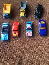 Seven Assorted Toy Cars Inc Matchbox Hotwheels Trucks