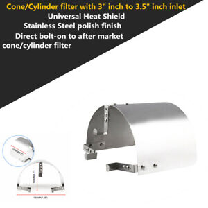 """3"""" to 3.5"""" Stainless Steel Cone Filter Air Intake Heat Shield Universal Car Part"""