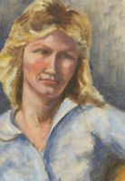 Ann Matthews - 20th Century Oil, Portrait of a Blonde Lady with a Blue Shirt