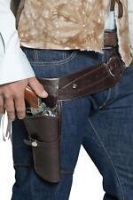 MENS WOMENS AUTHENTIC WESTERN WANDERING GUNMAN BELT & HOLSTER ADULTS FANCY DRESS