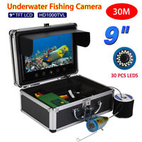 Pro 9inch 30m Fishing Camera Fish Finder Underwater LED Color HD Monitor 1000TVL