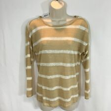 Lauren Ralph Lauren Women's Beige Stripe Thin Knit Linen Sweater Petite Small