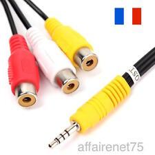 Cable Adaptateur Mini AV stéréo mâle à 3 RCA Femelle Audio Video Cable jack