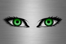 2x sticker eye helmet vinyl motorcycle kart evil eyes van racer decal green