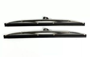 """Pair 11"""" Polished Stainless Steel Front Windshield Wiper Blades Wrist Type"""