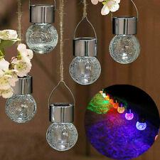 Hanging Crackle Solar Lights Led Wind Lantern Outdoor Garden Yard String Decor