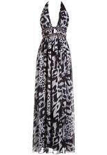 Lipsy Black & White Animal Print Diamante Maxi Dress. Size UK 8.