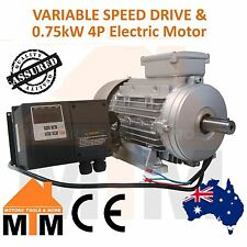 Single Phase VSD Variable Speed Frequency Drive & 0.75kW 1HP 1400rpm 4Pole Motor