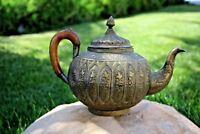 Antique Persian Isfahan brass teapot Qalam Zani Art handmade