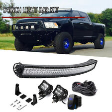 "54"" Curved LED Light Bar Upper Roof Chevy Silverado/GMC Sierra 1500 2500 3500"