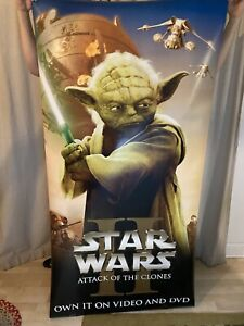star wars II attack of the clones Yoda vinyl double sided display banner 2002