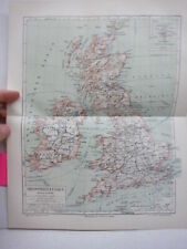 Meyers Antique Colored Map of  GROSSBRITANNIEN (1890)