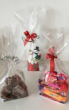 10 x CLEAR CELLOPHANE TREAT Bags with SILVER Card bottom CHRISTMAS EASTER Egg