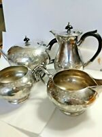 Antique Silver Plate Tea Coffee Set 4pc Victorian Ornate Floral Decoration