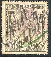 Ceylon 1924 brownish-grey 100r used fiscally SG359