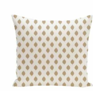 """Cop-Ikat Geometric Print Outdoor Throw Pillow white & khaki 18"""" x 18"""""""