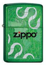 ZIPPO ACCENDINO LOGO Ribbons Green Polished ZIPPO LOGO nastri OVP NUOVO