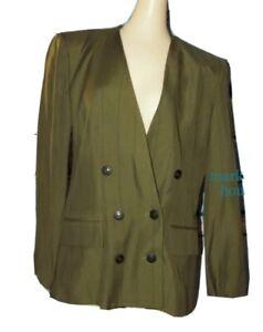 KASPER ASL Olive Green Black Pinstripe Suit BLAZER JACKET Sateen Lined size 8