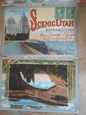 Rare Scenic Utah Souvenir Folder Circa 1920's With 18 Colour Images Back-to-Back