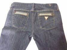GUESS PREMIUM Gray Wash Zip Pockets Gold Metallic Embroidered Jeans 29 x 30
