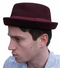 Rude Boy / Ska Pork pie felt hat - Maroon - Size 59cm (Large)