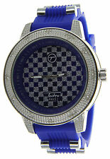 Over Size Bezel Ice Out Watch with Rubber Bullet Band by Techno Pave