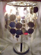 SILVER TABLE LAMP METALLIC PVC CIRCLES CASCADING SPARKLE