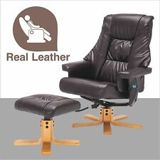 Massage Leisure Recliner Chair Swivel Real Leather Armchair w/Ottoman in Brown