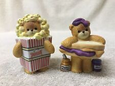 Lot of (2) Enesco 1995 & 1996 Lucy and Me Vintage Ceramic Bears (Popcorn + Pbj)