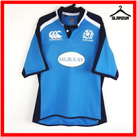 Canterbury Scotland Rugby Shirt L Large Official Jersey Top Blue Short Sleeves